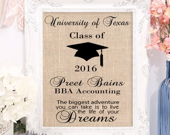 Personalized Burlap Graduation Print, Customize for College or High School, 8x10 or 11x4 Burlap Print