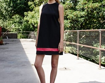 organic cotton black dress / black dress / organic black dress / shift  dress / little black dress / color block dress