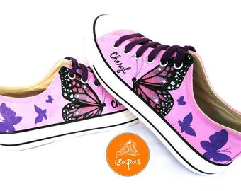 Butterfly Shoes, Sneakers, Hand Painted sneakers, dog shoes, Hand Painted, canvas shoes, trainers, hand painted shoes, low tops, butterfly