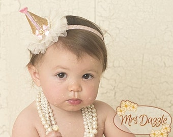 pink and gold party hat,baby 1st birthday hat,baby crown,baby headband,infant crown headband,newborn crown, pink glitter crown