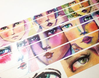 Watercolor Faces, Jane Davenport, Washi Tape Sample Lengths