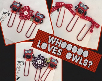 Who Loves Owls, Patriotic Owls, Flowers and Ribbon  Paper Clips