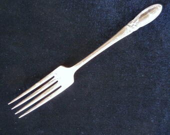 """Oneida Community Silver Plate Dinner Fork in the """"White Orchid"""" pattern circa 1950s"""