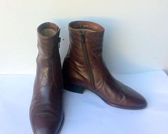 BALLY'S vintage 80S brown leather men ankle boots made in ITALY sz 5,5 m