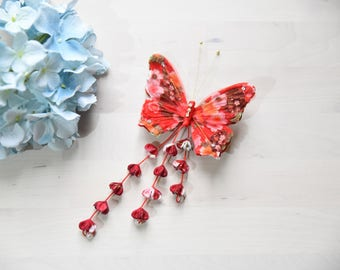 handmade Butterfly hairclip hair clip japan kimono style red