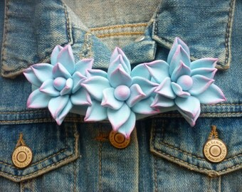 Mexican cactus necklace Mexico Succulent necklace Flower necklace Floral necklace Statement necklace Boho necklace Cacti Bib necklace blue