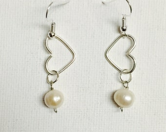 Silver Wire Heart Dangling Earrings With White Freshwater Pearls
