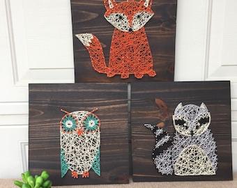 Woodland Creatures Nursery String Art-Set of three: Fox, Owl, and Racoon