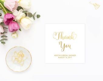 Bridal Shower Custom Favor Tag, Gold Bridal Shower Custom Thank You Tag, Faux Gold Foil Bridal Shower Favor, Printable Digital, GFBRS