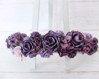 Purple flower crown - floral hair wreath - flower headpiece - flower hair accessories