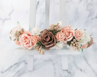 Brown off white peach with gold accents wedding flower crown - rustic head wreath - bridesmaid hair accessories - flower girls - garland