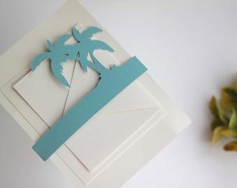 Wedding Invitation Belly Band / Floral Wedding Invitation Enclosure - Palm Trees, Tropical Wedding