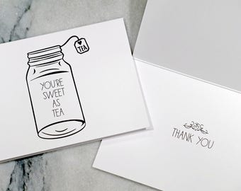 Sweet Tea Thank You Cards, Pack of 10, Thank You Card Set, Baby Shower Thank You Cards, Wedding Thank You Cards, Simple Thank You Cards