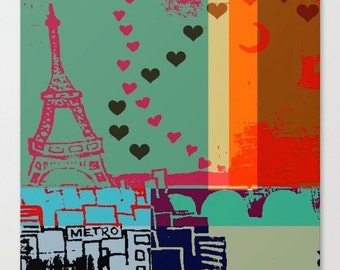 Canvas Print , Paris in Multicolour, Colourful, Whimsical City Art, Paris Decor