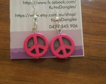 Hot pink earrings, pink earrings, peace earrings, peace sign, pink beads