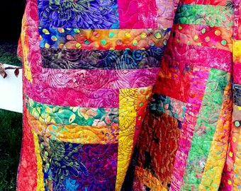 Quilt batiks FREE SHIPPING lap, couch, twin, oranges, purples, multicolored