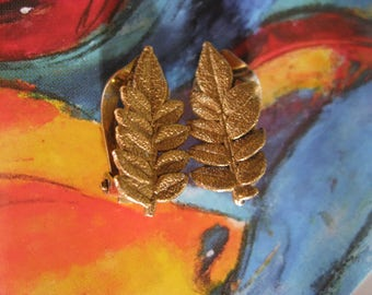 Vintage NATURE Flora Danica Clip on Earrings by Eggert of Denmark Rare Gold On Sterling Silver Hallmarked