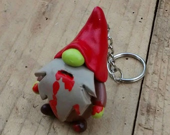 Cute little zombie gnome keyring/keychain with oversized hat. Red/Brown