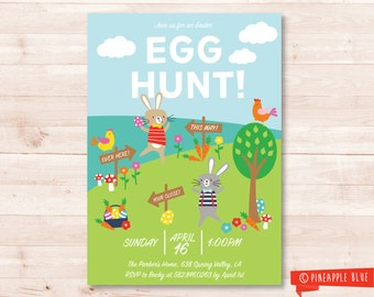 Easter egg hunt Invitation | Kids Easter Egg hunt Party | Easter party invitation
