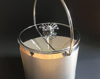 Chrome Silver Textured Ice Bucket Mid Century Modern Barware