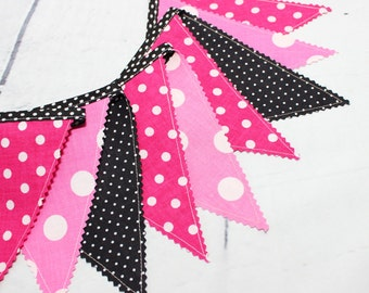 Minnie Mouse Bunting Banner, Fabric Garland, Flags, Pink, Minnie Mouse Birthday Party Decoration, Baby Shower, Photography prop