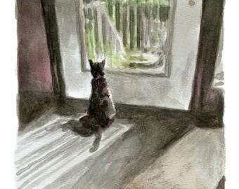 Watercolor Cat Print, Kitten Art Print