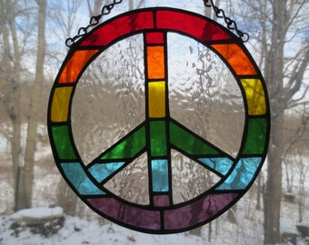 Peace Sign Stained Glass Suncatcher