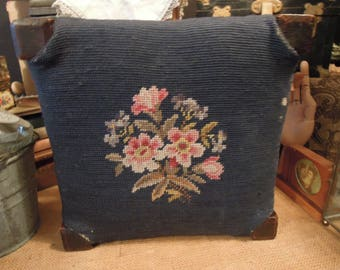 Victorian Foot Stool / Antique Footrest / Vintage Needle Point Foot Stool / Blue Floral Foot Stool