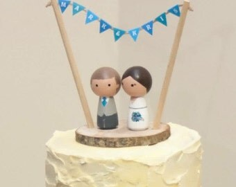 Bride & Groom Cake Toppers - Peg Doll Cake Toppers - Personalised Wedding Cake Toppers  - Kokeshi Cake Toppers