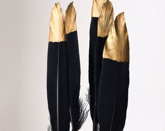 "Hand Painted Gold Tipped Black Goose Feathers 4-6"" Long - Great for weddings, crafts, jewellery, diy christmas decorations + dream catchers!"