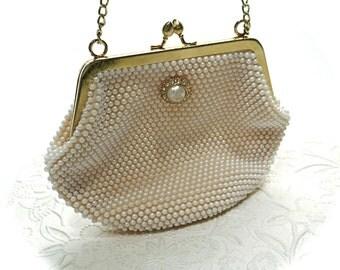 Vintage Evening Bag Ivory Pearl Handbag Vintage Handbags VH-121