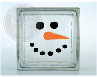 Snowman face vinyl decal