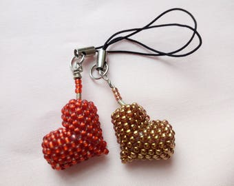 Key ring  pendant Set of 2 heart red and gold with beads Japanese TOHO 3D