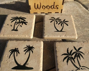 Coaster set with palm trees and name,Christmas gift,beach themed coaster with holder
