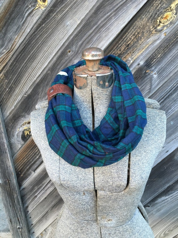 green and navy plaid flannel eternity scarf with a brown leather cuff - soft, trendy