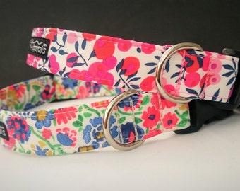 "Liberty of London ""Berries"" or ""Spring Garden"" Designer Dog Collars, Slip-on Bandana Available"