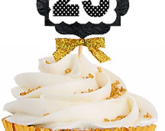 23rd Birthday / Gold Ribbon with Polka Dot Numbers Cupcake Picks / Toppers -12ct.