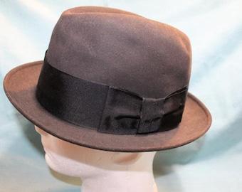"Vintage Black Knox Flying Cloud ""Cushion-Aire""  Felt  Trilby Homburg Fedora Sz 7 56 cm Men's Dress Formal Wear"
