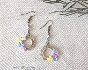 Boho chic crochet earrings Antique brass lewelry Crochet flowers