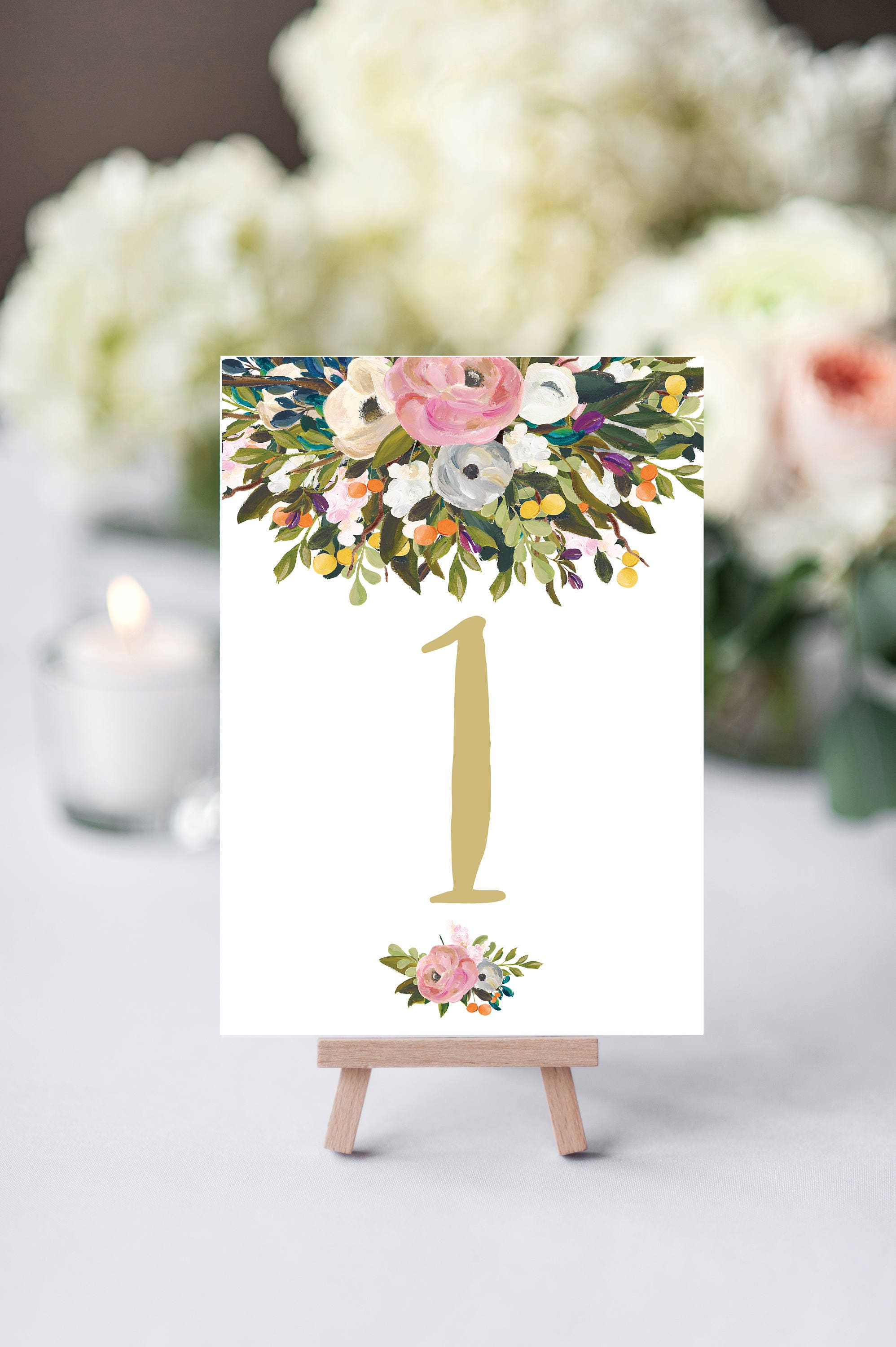 Wedding table numbers printable floral table numbers table number