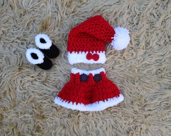 Crochet Santa Outfit Baby Santa Skirt Christmas Skirt Girl's Santa Skirt Newborn Photo Prop Christmas Dress Mrs Clause Outfit Crochet Skirt