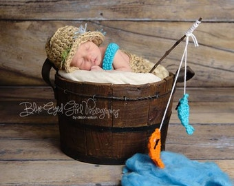 Newborn Fishing outfit,Crochet Baby Outfit,Crochet Baby Fisherman Outfit,Newborn Boy Photo Outfit, Newborn Fishing Photo Prop