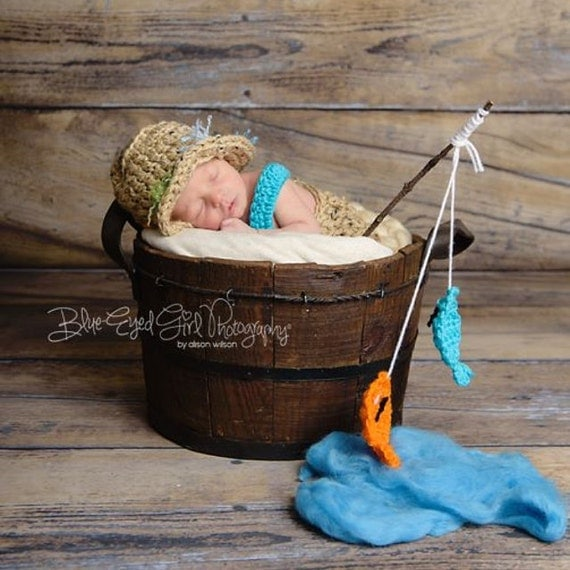 Items Similar To Newborn Fishing Outfit Crochet Baby