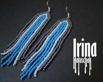 Fringe earrings,Beaded earrings, seed bead earrings, modern earrings, boho earrings beadwork jewelry dark grey earrings with silver and blue