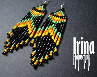 Beaded earrings, Boho style, long fringe earrings, beadwork jewelry, dangle earrings Native American style seed bead earrings black earrings