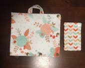 Mint and peach rose Insulated Infinity Pump Bag Cover and Port Connection Cover-Insulated Ice Pack Bag-Feeding Tube-Tubie-GTube-Jtube