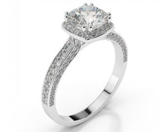 Natural Diamond Halo Ring, 1 1/2 CT Diamond Engagement Ring Round Cut H/SI2 14K White Gold