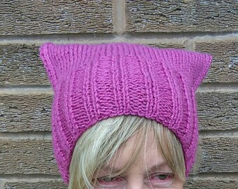 In stock Pussyhat, pussycat hat, cat hat, cat ear hat, Petunia, pussy hat, women's march, aran knit, Ready Now, ships worldwide from UK