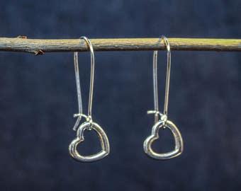 Long earrings with silver heart
