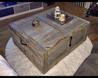 Large Coffee Table Trunk in Weathered Grey